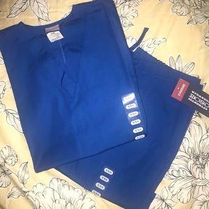 Royal blue women's scrub set